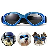 PEDOMUS Dog Goggles Dog Sunglasses Adjustable Strap for UV Sunglasses Waterproof Protection for Dog Blue