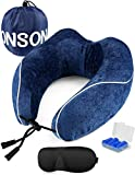 ONSON Travel Pillow, Memory Foam Neck Pillow for Airplane Travel Adjustable Inflatable Airplane Pillow, Portable Neck Support Pillow for Kids,Women and Men (Travel Pillow-Blue)