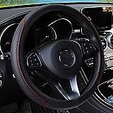 Leather Car Steering Wheel Cover, Elastic, Breathable Anti-Slip, Universal 15 inch, Steering Wheel Cover for Men Women (Black/Red)