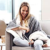 "Pure Enrichment PureRelief Plush Heated Throw - Fast-Heating 50"" x 60"" Electric Blanket with 4 Heat Settings, Storage Bag and Soft, Machine-Washable Micromink and Sherpa for Cozy Couch or Bed Use"