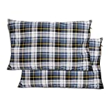 CAMPMAX Small Camping Pillow for Sleeping, Comfortable Cotton Lightweight Compressible Travel Pillows with Removable and Washable Pillow Cover, Blue 2 Sets