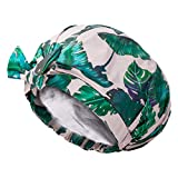 Auban Shower Cap Reusable,Ribbon Bow Bath Cap Oversized Large Design With Moldproof and Waterproof Exterior for All Hair Lengths,Great for Girls Spa Home Use,Hotel and Hair Salon (Green Leaf)