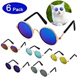 Frienda 6 Pieces Funny Cute Cat Small Dog Sunglasses Classic Retro Circular Metal Prince Sunglasses Eye-wear Photos Props Accessories Cosplay Glasses (Black and Mix Reflective Color)