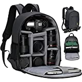 TARION Camera Bag Professional Camera Backpack Case with Laptop Compartment Waterproof Rain Cover for DSLR SLR Mirrorless Camera Lens Tripod Photography Backpack for Women Men Photographer Black TB-S