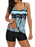 Century Star Tankini Swimsuits for Women Retro Bathing Suits Two Pieces Modest Swimming Wear Sports Tank Tops with Boyshorts 01 Black Blue 12-14