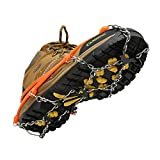 Cosyzone Traction Cleats Micro Ice Spikes for Shoe/Boots Safe for Walking, Jogging, Climbing and Hiking-Orange (L)