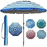 Blissun 7.2' Portable Beach Umbrella with Sand Anchor, Tilt Pole, Carry Bag, Air Vent (Blue and White)
