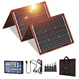 DOKIO 160 Watts 18 Volts Portable Solar Panel Kit (22x21 inch) Folding Solar Charger Monocrystalline Include 2 USB Outputs Controller for 12v Batteries/Power Station Delta AGM LiFePo4 Camping RV Boat