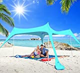 Pop Up Canopy Tent 10x10 FT - Easy Set Lycra UPF50+, Pop Up Canopy Tents & 4 Pole, Beach Umbrellas For Sand, Beach Tents Sun Shelter 2-6 Person Beach Canopy Tent Sun Shade, Beach Shade & Camping Tent