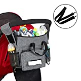 Baby Stroller Organizer with 2 Thermal Insulation and Waterproof Cup Holder, for Diaper, Phone, Tissue etc. Secured Fit with Grip Handlebar, Easy Installation, Extra Storage for Universal Stroller