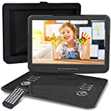 WONNIE 16.9' Portable DVD/CD Player with 14.1' Large Swivel Screen, Car Headrest Case, 6 Hrs 4000mAH Rechargeable Battery, Regions Free, Support USB/SD Card/ Sync TV, High Volume Speaker