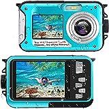 Waterproof Digital Camera Underwater Cameras Full HD 2.7K 48MP Video Recorder Selfie Dual Screens 16X Digital Zoom Flashlight Cameras for Snorkelling Travel Holiday