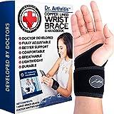 Doctor Developed Copper Wrist Brace / Carpal Tunnel Wrist Brace / Wrist Support / Wrist Splint / Hand Brace / Night Support for Women & Men - Registered Class I Medical Device - & Doctor Written Handbook - Right & Left hands (Single)