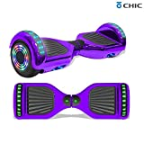 Longtime 6.5' Chrome Metallic Hoverboard Self Balancing Scooter with Speaker LED Lights Flashing Wheels (Metallic Purple)