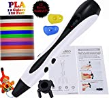 3D Printing Pen 2019 Safe for Kids and Adults No Clogging with Nontoxic 1.75mm PLA/ABS Filament 120 Feet 12 Colors Adjustable No Mess 3D Drawing Set White