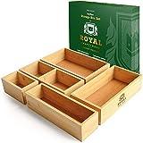 Luxury Bamboo Drawer Organizer Storage Box / Bin Set - Multi-Use Drawer Organizer for Kitchen, Bathroom, Office Desk, Makeup, Jewelry (5 Boxes)