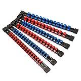 "Makitoyo ABS Socket Organizer Drive Socket Holder, 1/4"" Drive x 32 Clips, 3/8"" Drive x 30 Clips, 1/2"" Drive x 24 Clips,Portable Socket Clip Rail Holder, 6 Pieces Set"