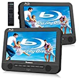 NAVISKAUTO 10.1' Blu Ray Dual Car DVD Players with Rechargeable Battery Support 1080P Video, HDMI Out, Sync Screen, Dolby Audio, AV in & Out, USB SD (Host DVD Player+ Slave Monitor)