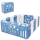 Costzon Foldable Baby Playpen, 16-Panel Baby Play Yards with Lock Door & Anti-Slip Rubber Mats, Indoor Outdoor Safety Baby Fence with Adjustable Shape for Children Toddlers (16 Panel, Blue + White)
