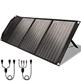 ROCKPALS RP081 60w Portable Solar Panel with Parallel Cable, Kickstand, USB-C and QC 3.0, Upgraded Foldable Solar Panel Charger for Jackery Goal Zero Yeti Power Station