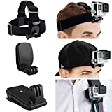 CamKix Head & Backpack Mount Bundle Compatible with GoPro Hero 8,7, 6, 5, Black, Session, Hero 4, Black, Silver, Hero+ LCD, 3+, 3, DJI Osmo Action - Head Strap/Hat Quick Clip/Backpack Clip Mount