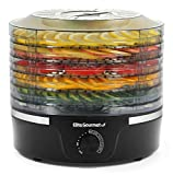 Elite Gourmet EFD319 Food Dehydrator, Adjustable Temperature Controls, Jerky Herbs Fruit Veggies Snacks, BPA-Free, Black 5 Trays