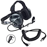 Rugged Radios H41-CF Carbon Fiber Style Behind The Head Two Way Radio Headset with CC-Ken Coil Cord Cable for Baofeng, RH5R, RDH & Kenwood 2-Pin Radios