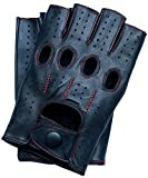 Riparo Motorsports Men's Fingerless Half Finger Driving Fitness Motorcycle Cycling Unlined Leather Gloves (Large, Black/Red Thread)