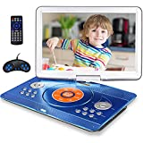 16.9' Portable DVD Player with 14.1' Large Swivel Screen, Car DVD Player Portable with 4 Hrs Rechargeable Battery, Mobile DVD Player for Kids, Sync TV, Support USB SD Card with Car Charger (Blue)