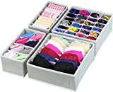 Simple Houseware Closet Underwear Organizer Drawer Divider 4 Set, Gray