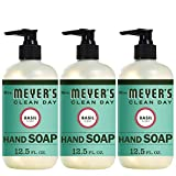 Mrs. Meyer's Clean Day Liquid Hand Soap, Cruelty Free and Biodegradable Formula, Basil Scent, 12.5 oz- Pack of 3