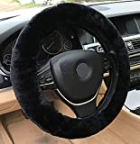 Andalus Australian Sheepskin Wool Steering Wheel Cover for Women & Men - Universal 15 Inch Steering Wheels & Accessories - Eco-Friendly Wheel Cover for Car - Car Accessories (Black)