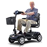 4-Wheel Mobility Scooter, SEGMART Adults Electric Powered Wheelchair Scooter, Folding Motorized Scooter for Handicapped/Seniors/Elderly, 360 Degree Swivel Seat-LED Light-10Miles Long Range, Blue
