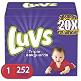 Diapers Newborn/Size 1 (8-14 lb), 252 Count - Luvs Ultra Leakguards Disposable Baby Diapers, ONE MONTH SUPPLY