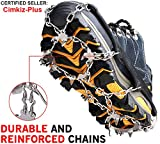 Cimkiz Crampons Ice Cleats Traction Snow Grips for Boots Shoes Women Men Kids Anti Slip 19 Stainless Steel Spikes Safe Protect for Hiking Fishing Walking Climbing Mountaineering L, Black (TCB-L)