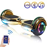 Hoverboard Self Balancing Scooter 6.5' Two-Wheel Self Balancing Hoverboard with Bluetooth Speaker and LED Lights Electric Scooter for Adult Kids Gift UL 2272 Certified Plating Dazzle Series - Gold