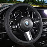 Aierxuan Microfiber Leather Steering Wheel Covers. Universal Fit All 15 Inch Car Wheel Protector Such as HRV CRV Accord Corolla Prius Rav4 Tacoma Camry (Black)