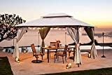 10'x13' Patio Gazebo Outdoor Pop up Gazebo with Privacy Curtain, Double Roof Canopy for Shade and Rain,Easy Setup Shelter Canopy for Deck Backyard,Wedding,Garden