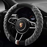 Cxtiy Universal Car Steering Wheel Cover Fluffy Winter Plush Steering Wheel Cover (A-Gray)