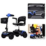 HEINSY 4 Wheel Compact Travel Electric Power Mobility Scooter for Adults with LED Headlight - 265 lbs Max Weight,4 Wheel, 18 in Width Thick Leather Seats-Long Range Power (Blue, Basic)