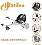 Hoverboard Go Kart Seat Attachment, Heavy Duty Buggy, Accessories for Hoverboard, Go Cart for All Ages, Apply to Most 6.5', 8', 10' Hoverboard, Easy to Assamble, and Happy to Play (White)