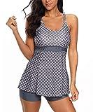 Zando Women's Slimming Skirt Swimsuit Dress Tummy Control 2 Piece Swimdress Swimsuit Long Torso Tankini Swimwear with Boyshort Dark Grey Diamond L (fits like US 10-12)