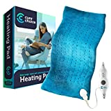 Cure Choice Large Electric Heating Pad for Back Pain Relief + Storage Pouch, Ultra Soft 12'x24' Heating pad for Muscle Cramps - Heated Pad with Adjustable Temperature Settings (Blue)