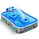 Hamdol Inflatable Swimming Pool with Sprinkler, Kiddie Pool 99' X 72' X 22' Family Full-Sized Inflatable Pool, Blow Up Lounge Pools Above Ground Pool for Kids, Adult, Toddler, Outdoor, Garden, Party