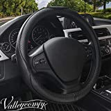 Valleycomfy 15.75 inch Auto Car Steering Wheel Covers Black with Black Lines- Genuine Leather for F-150 Tundra Range Rover