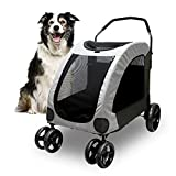 Petbobi 4 Wheel Dog Stroller for Large or 2 Dogs for Jogger Wagon Foldable Travel Carriage, Breathable Pet Expedition Gear Cart with Storage Space Pet Can Easily Walk in/Out Up to 120 lbs