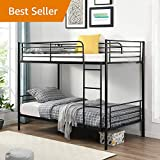 Bunk Bed,Metal Bunk Bed Twin Over Twin, with Safety Guardrail, Climbing Ladder, Easy to Assemble, Saving Space, Kids Bed Bedroom Storage Guard Rail Ladder, Black