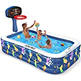 AOKIWO Inflatable Swimming Pool with Basketball Stands, 118' X 72' X 20' Full-Sized Family Inflatable Lounge Pool Kiddie Pool for Kids, Kiddie, Adults, Infant, Garden, Backyard