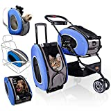 5-in-1 Pet Carrier with Backpack, Car Seat, Pet Carrier Stroller, Shoulder Strap, Carriers with Wheels for Dogs and Cats - All-in-One Dog and Cat Strollers for Walks, Traveling, Trips