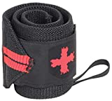 Harbinger Red Line 18-Inch Weightlifting Wrist Wraps for Men and Women (Pair), Black/Red